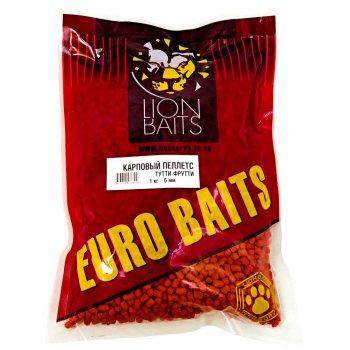 Пеллетс карповый LION BAITS Carp pellets Тутти-Фрутти (оранжевый) 6 мм 1 кг